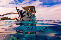 Tour boats (tourists swimming with rays and reef sharks), Bora Bora, French Polynesia.