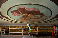 Colonial Theater restoration work - ceiling, stencils, painting.  ©2020 Karen Bobotas Photographer