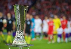 BASEL, SWITZERLAND - Wednesday, May 18, 2016: The UEFA Cup trophy on display before the UEFA Europa League Final between Liverpool and Sevilla at St. Jakob-Park. (Pic by David Rawcliffe/Propaganda)