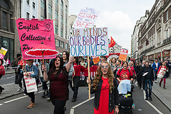 May 1, 2019 - London, England, United Kingdom - Workers and trade unions' activists from Britain and around the world march through central London to a rally in Trafalgar Square to mark International Workers Day on 01 May, 2019 in London, England. Unionists and activists campaign for trade union rights and workers protection, protest against austerity and call for international solidarity of workers. (Credit Image: © Wiktor Szymanowicz/NurPhoto via ZUMA Press)