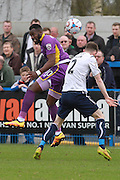Amari Morgan-Smith and Ryan Toulson during the Vanarama National League match between Guiseley  and Cheltenham Town at Nethermoor Park, Guiseley, United Kingdom on 9 April 2016. Photo by Antony Thompson.