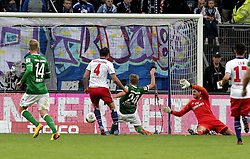 21.09.2013, Imtech Arena, Hamburg, GER, 1. FBL, Hamburger SV vs SV Werder Bremen, 6. Runde, im Bild Nils Petersen (Werder) erzielt das 0:1, Sportler DFB Sport Deutschland Fussball Hamburger Sport Verein // during the German Bundesliga 6th round match between Hamburger SV and SV Werder Bremen at the Imtech Arena, Hamburg, Germany on 2013/09/21. EXPA Pictures © 2013, PhotoCredit: EXPA/ Eibner/ Andre Latendorf<br /> <br /> ***** ATTENTION - OUT OF GER *****