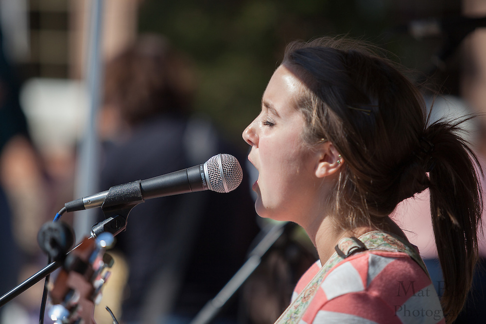 Senior at Sterling High School Camilla Peruto sings a cover song during the Blackwood Pumpkin Festival on Sunday October 14, 2012. (photo / Mat Boyle)