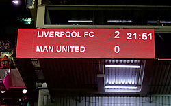 LIVERPOOL, ENGLAND - Thursday, March 10, 2016: Liverpool's scoreboard records the 2-0 victory over Manchester United during the UEFA Europa League Round of 16 1st Leg match at Anfield. (Pic by David Rawcliffe/Propaganda)