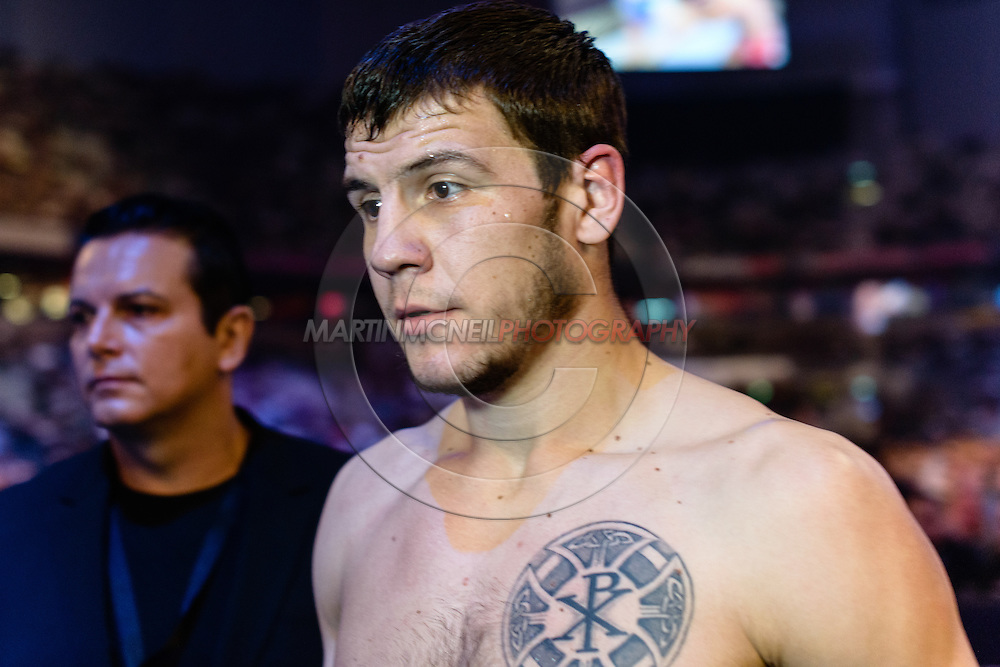 "STOCKHOLM, SWEDEN, JANUARY 24, 2015: Nikita Krylov during ""UFC on Fox 14: Gustafsson vs. Johnson"" inside Tele2 Arena in Stockholm, Sweden"
