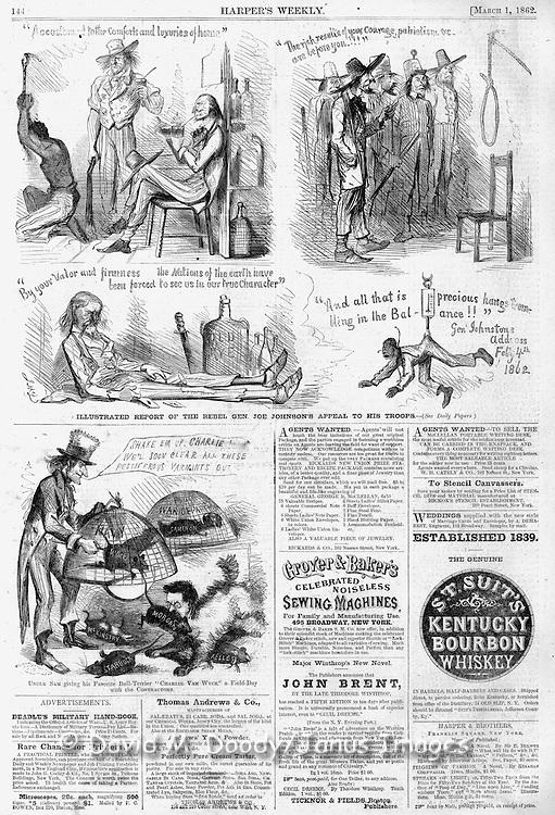 Civil War Anti Slavery Cartoons Harper's Weekley March 1, 1862