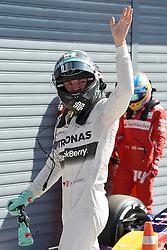 06.09.2014, Autodromo di Monza, Monza, ITA, FIA, Formel 1, Grand Prix von Italien, Qualifying, im Bild 06.09.2014, Autodromo di Monza, Monza, ITA, FIA, Formel 1, Grand Prix von Italien, Qualifying, im Bild Nico Rosberg (GER) Mercedes AMG F1 celebrates in parc ferme // during the Qualifying of Italian Formula One Grand Prix at the Autodromo di Monza in Monza, Italy on 2014/09/06. EXPA Pictures © 2014, PhotoCredit: EXPA/ Sutton Images<br /> <br /> *****ATTENTION - for AUT, SLO, CRO, SRB, BIH, MAZ only*****