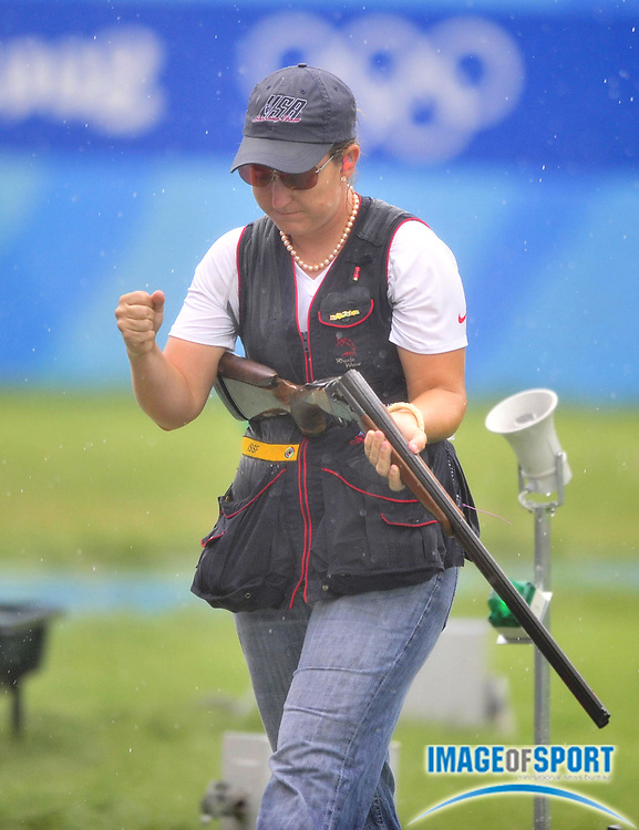 Aug 14, 2008; Beijing,CHINA; Kimberly Rhode (USA) was second in the  womens skeet shooting final at the Beijing Shooting Range. Mandatory Credit: Kirby Lee/Image of Sport-US PRESSWIRE