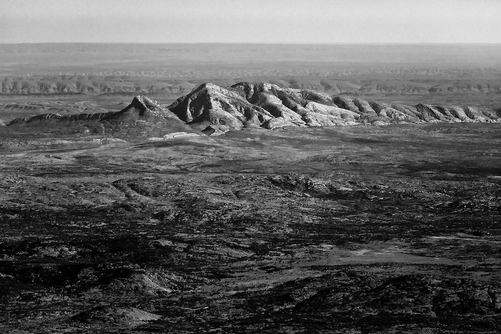 Black and White aerial view if the Northern flanks of Mt Sinder in the West MacDonnell N.P. Central Australia.<br /> Official End of the Larapinta Trail