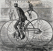 The Quadrant Tricycle: power  from the pedals was transmitted to the front wheels by a chain drive. Engraving 1884,