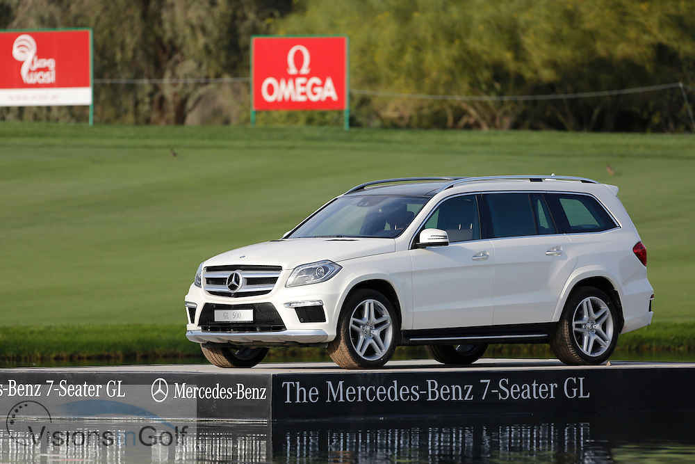 car sponsored by Mercedes-Benz<br /> Omega Dubai Desert Classic, Emirates GC, UAE, January 2014<br /> Picture Credit:  Mark Newcombe / www.visionsingolf.com