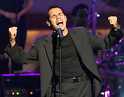"Latin recording artist Marc Anthony performs his hit song ""You Sang To Me"" October 26, 2000 during the taping of ""The American Red Cross Holiday Music Spectacular from Miami"" at The Jackie Gleason Theater on Miami Beach. The show will be broadcast on the Fox network December 23, 2000. REUTERS/Colin Braley"