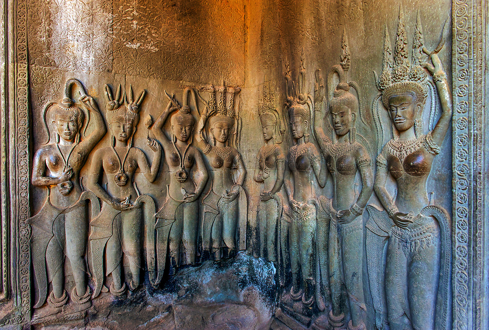 Apsaras carved on Angkor Wat temple, Siem Reap, Cambodia