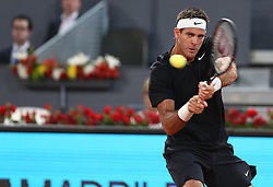 May 8, 2018 - Madrid, Spain - Juan Martin del Potro of Argentina plays a backhand to Damir Džumhur of Bosnia Herzegovina in the 2nd Round match during day four of the Mutua Madrid Open tennis tournament at the Caja Magica. (Credit Image: © Manu Reino/SOPA Images via ZUMA Wire)