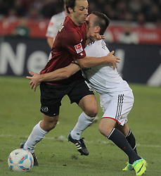 23.10.2011, AWD-Arena, Hannover, GER, 1.FBL, Hannover 96 vs Bayern München, im Bild . von Mohammed Abdellaoue gegen Frank Ribery (Bayern #7).// during the match from GER, 1.FBL, Hannover 96 vs Werder Muenchen on 2011/10/23, AWD-Arena, Hannover, Germany. .EXPA Pictures © 2011, PhotoCredit: EXPA/ nph/  Rust       ****** out of GER / CRO  / BEL ******