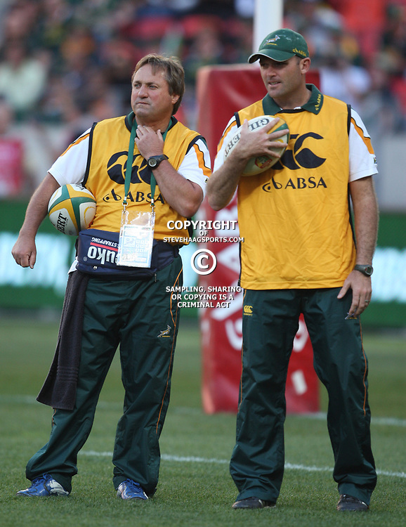 PORT ELIZABETH, SOUTH AFRICA - AUGUST 20, Derrick Coetzee with Jacque Nienaber during the Castle Lager Tri Nations match between South Africa and New Zealand from Nelson Mandela Bay Stadium on August 20, 2011 in Port Elizabeth, South Africa<br /> Photo by Steve Haag / Gallo Images