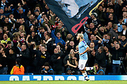 Manchester City forward Sergio Aguero (10) celebrates his goal 2-1 during the Champions League match between Manchester City and Atalanta at the Etihad Stadium, Manchester, England on 22 October 2019.