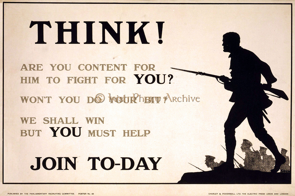 Think! Are you content for him to fight for you? Won't you do your bit? We shall win but you must help. Join to-day'. World War I Poster showing silhouette of a soldier striding forward with bayonet. 1915