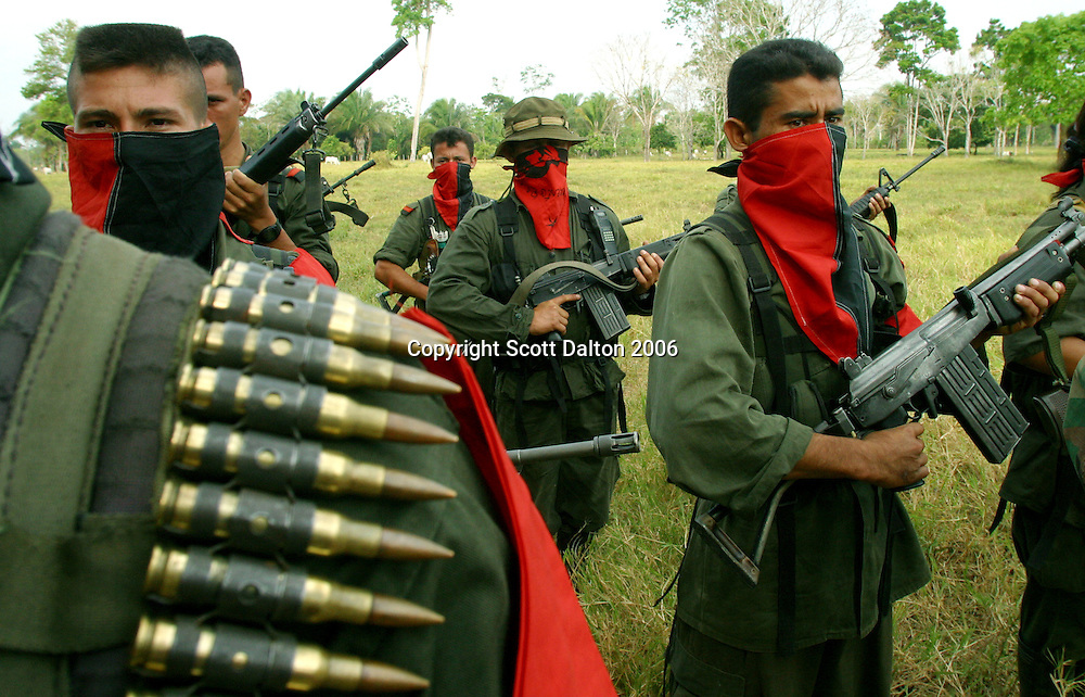 Rebels of the National Liberation Army, ELN, in formation in Arauca. The ELN is the second largest rebel group in Colombia with an estimated 5,000 members. The ELN is most known for carrying out kidnappings and attacking oil pipelines throughout the country. (Scott Dalton)