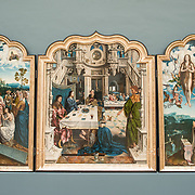 A 16th century triptych titled Triptyque de L'Abbaye de Dielegem possibly by artist Jan Van Dornicke on display at the Royal Museums of Fine Arts in Belgium (in French, Musées royaux des Beaux-Arts de Belgique), one of the most famous museums in Belgium. The complex consists of several museums, including Ancient Art Museum (XV - XVII century), the Modern Art Museum (XIX ­ XX century), the Wiertz Museum, the Meunier Museum and the Museé Magritte Museum.