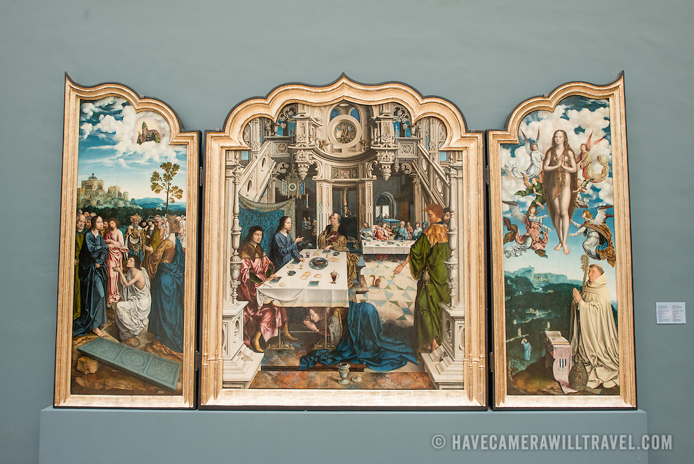 A 16th century triptych titled Triptyque de L'Abbaye de Dielegem possibly by artist Jan Van Dornicke on display at the Royal Museums of Fine Arts in Belgium (in French, Musées royaux des Beaux-Arts de Belgique), one of the most famous museums in Belgium. The complex consists of several museums, including Ancient Art Museum (XV - XVII century), the Modern Art Museum (XIX  XX century), the Wiertz Museum, the Meunier Museum and the Museé Magritte Museum.