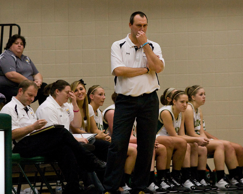 Jamestown Community College's Womens Basketball Coach Keith Martin during basketball action 12-2-11 Photo by Mark L. Anderson
