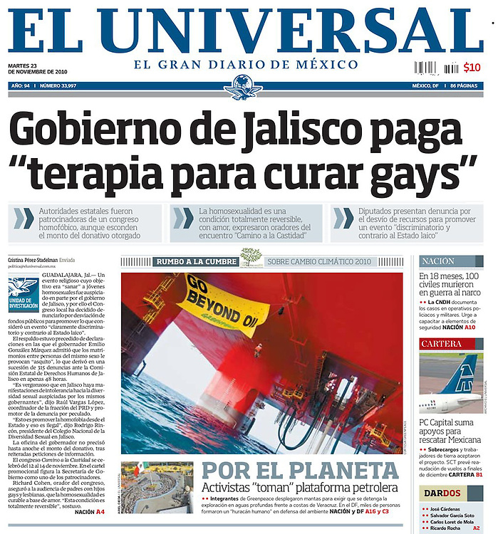 Cover photo for El Universal, november 2010. Greenpeace / Reuters / Handout