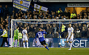 Goal scored by Sheffield Wednesday midfielder Adam Reach (20) (not pictured) during the EFL Sky Bet Championship match between Sheffield Wednesday and Leeds United at Hillsborough, Sheffield, England on 28 September 2018.