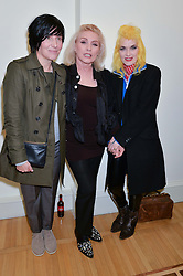 Left to right, SHARLEEN SPITERI, DEBBIE HARRY and PAM HOGG at a private view of Chris Stein/Negative: Me, Blondie And The Advent Of Punk, held at Somerset House, The Strand, London on 5th November 2014.