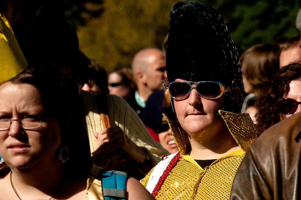 Washington, DC, October 30, 2010 - Jon Stewert and Steven Colbert host the Rally To Restore Sanity and/or Fear.  Tens of thousands of ralliers donned costumes and carried signs. Elvis.