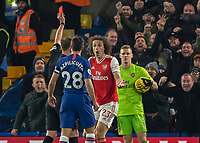 Football - 2019 / 2020 Premier League - Chelsea vs. Arsenal<br /> <br /> David Luiz (Arsenal FC) is shown the red card for his tackle on Tammy Abraham (Chelsea FC) as he headed towards goal at Stamford Bridge <br /> <br /> COLORSPORT/DANIEL BEARHAM