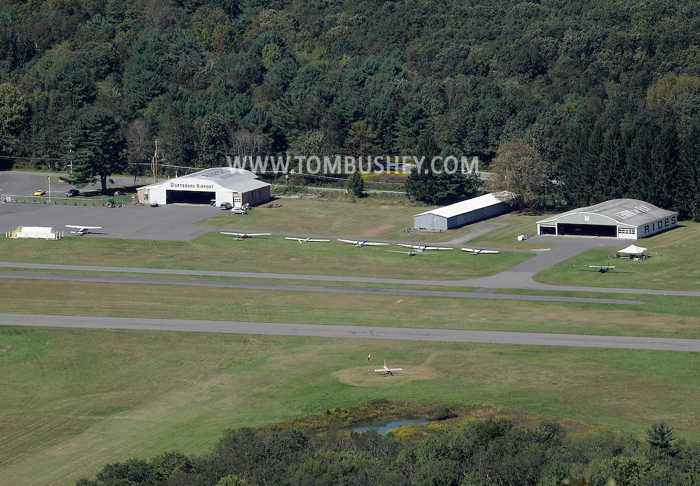 Wurtsboro, New York - Gliders are parked in rows at Wurtsboro Airport in this view from atop the Shawangunk Ridge on Sept. 18, 2011.