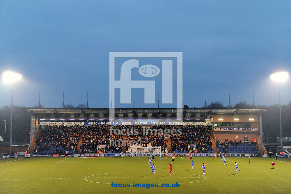 Kurtis Guthrie of Colchester United celebrates scoring his sides third goal to make the scoreline 3-1 during the Sky Bet League 2 match between Colchester United and Carlisle United at the Weston Homes Community Stadium, Colchester<br /> Picture by Richard Blaxall/Focus Images Ltd +44 7853 364624<br /> 07/01/2017