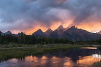Sunset over the Tetons from Schwabacher's Landing.