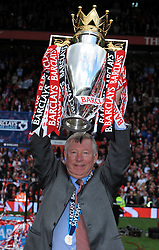 Sir Alex Ferguson celebrates with the Premier League Trophy. Manchester United V Arsenal (0-0) 16/05/09 at Old Trafford. The Premier League.