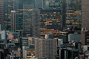 Skyscrapers at dusk in Marunouchi, Tokyo, Japan. Friday February 5th 2016