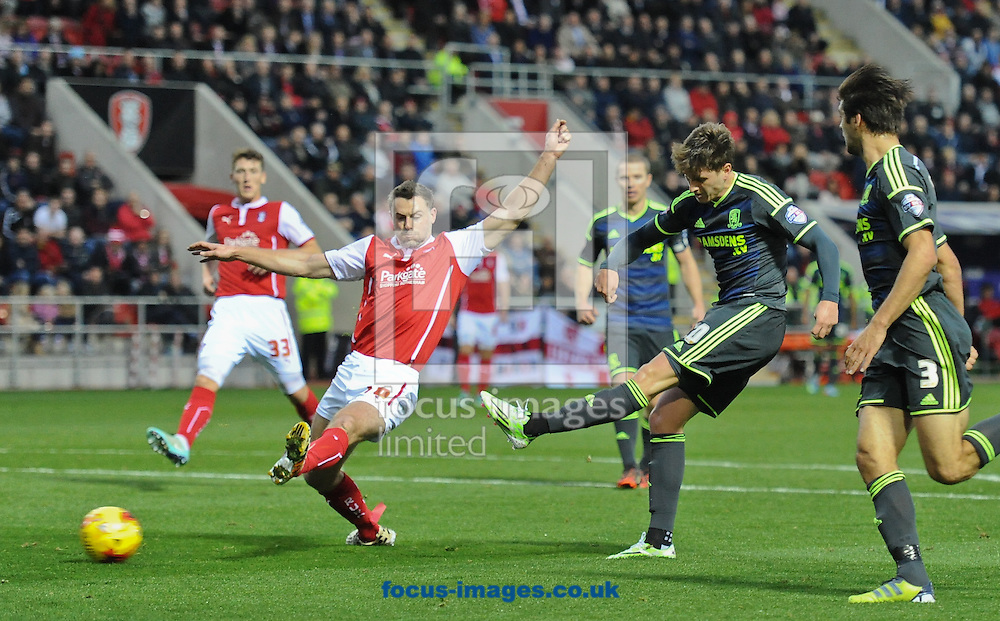 Adam Reach of Middlesbrough shoots during the Sky Bet Championship match at the New York Stadium, Rotherham<br /> Picture by Richard Land/Focus Images Ltd +44 7713 507003<br /> 01/11/2014