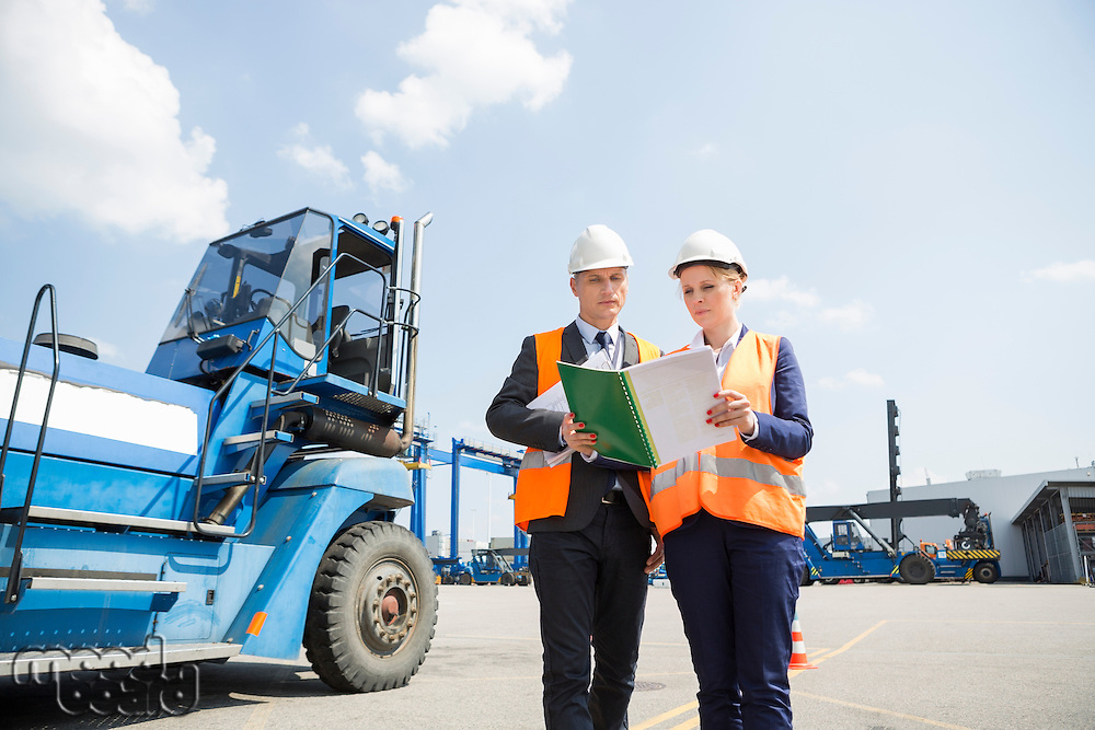 Engineers reading file in shipping yard