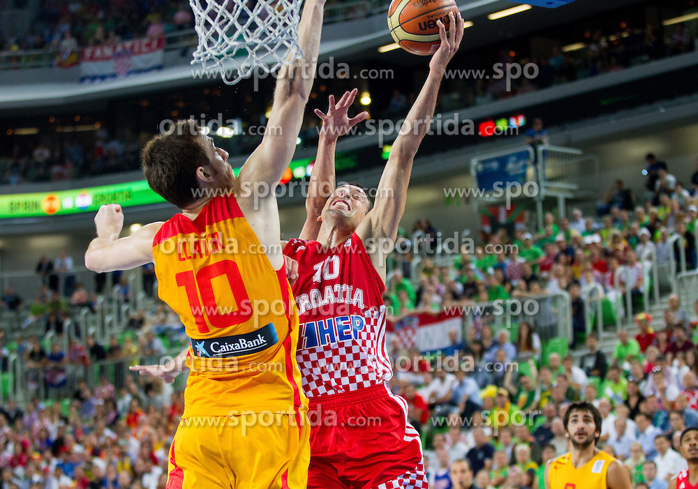 Victor Claver #10 of Spain vs Roko Leni Ukic #10 of Croatia during basketball match between National teams of Spain and Croatia in 3rd Place game at Day 19 of Eurobasket 2013 on September 22, 2013 in Arena Stozice, Ljubljana, Slovenia. (Photo by Vid Ponikvar / Sportida)