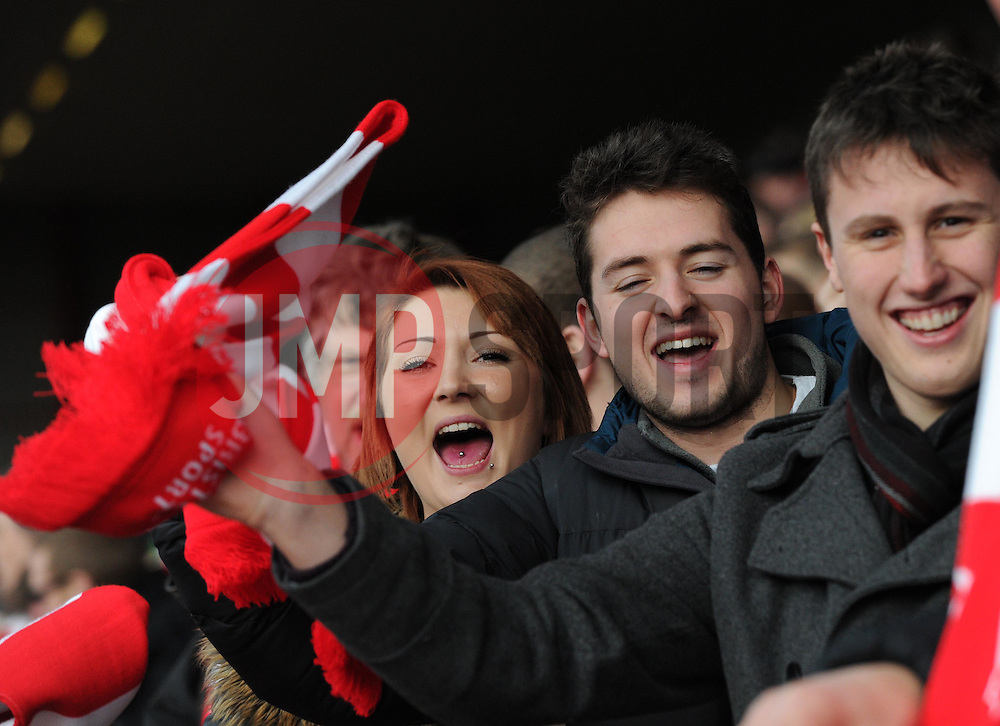 Spectators at the FA Cup fourth round match between Bristol City and West Ham United at Ashton Gate on 25 January 2015 in Bristol, England - Photo mandatory by-line: Paul Knight/JMP - Mobile: 07966 386802 - 25/01/2015 - SPORT - Football - Bristol - Ashton Gate - Bristol City v West Ham United - FA Cup fourth round