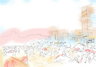 An abstract, line drawing illustration of Ipanema Beach, Rio de Janiero, Brazil.