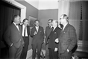 "4/03/1966<br /> 03/24/1966<br /> 24 March 1966<br /> Reception at the Shelbourne Hotel for speakers at the Symposium on ""Shock"" sponsored by Pharmacia International held at UCD. Image shows (l-r): Dr. L.G. O'Connell, M.B., M.Sc.; Mr P. Brady, M.Ch., F.R.C.S.I.; Dr U.F. Gruber, M.D. (Switzerland); Dr H. Hint, M.D., (Sweden); Prof. P. FitzGerald M.D., M.Ch., M.Sc F.R.C.S.I. and Profeeor E. O'Malley, M.Ch., F.R.C.S.I. who presented papers at the event."