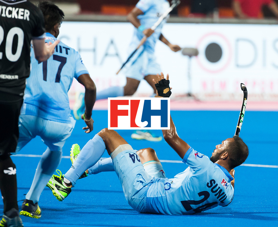 BHUBANESWAR - Hockey World League finals Match for bronze , Germany v India (1-2). Sunil Sowmarpet (Ind) scored.   COPYRIGHT KOEN SUYK