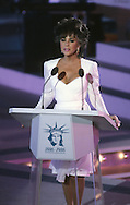 Elizabeth Taylor speaks  at the Opening ceremonies of Liberty Weekend on July 3, 1986..Photograph by Dennis Brack bb30