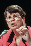 WASHINGTON, DC, USA - 1997/04/16: U.S. Attorney General Janet Reno testifies before the Senate Judiciary Committee hearing on a proposed Constitutional amendment to protect victims's rights on Capitol Hill April 16, 1996 in Washington, DC. (Photo by Richard Ellis)