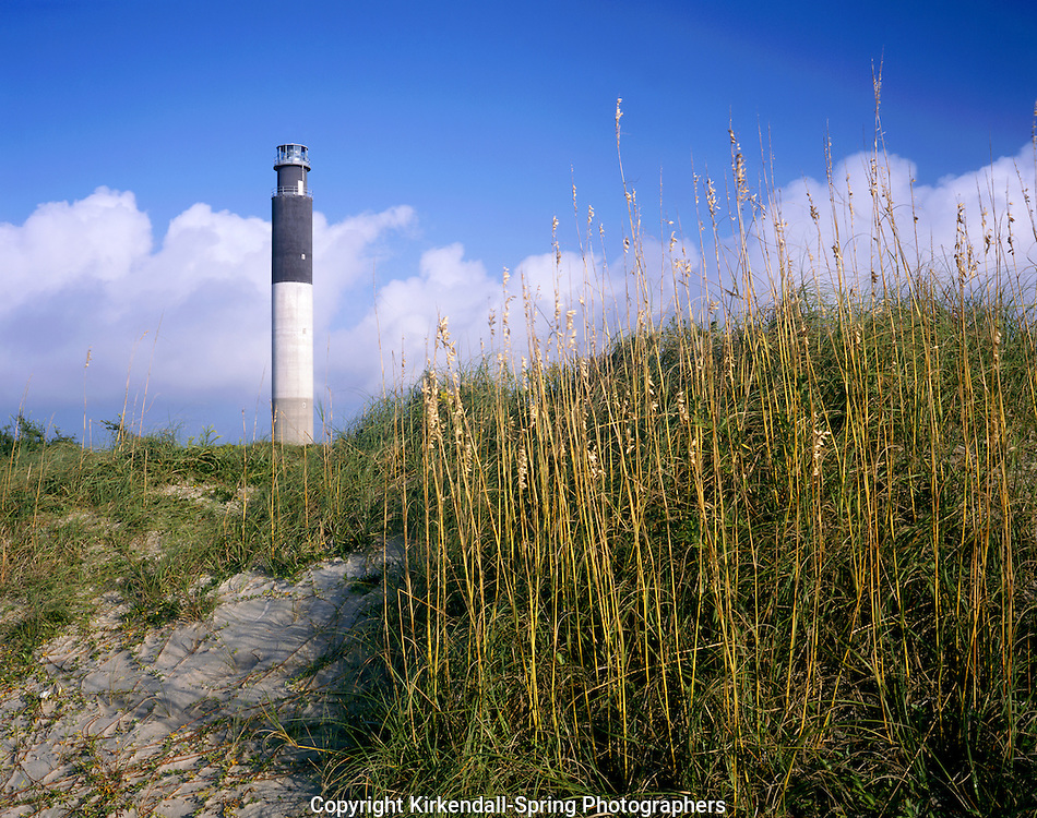 AA05896-02...NORTH CAROLINA - Oak Island Lighthouse on Long Bay near the mouth of the Cape Fear River.