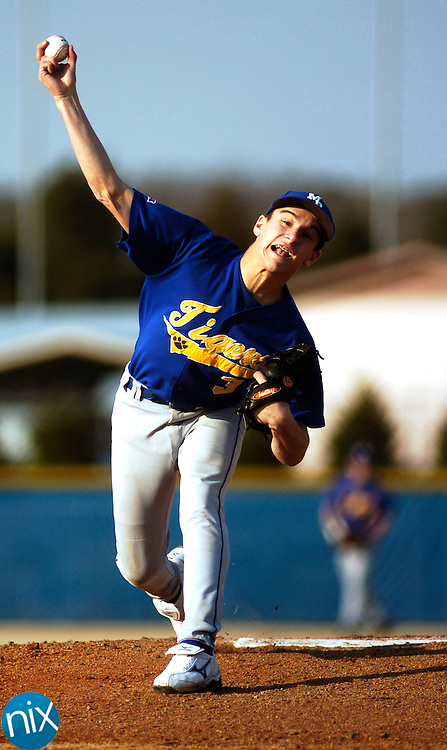 Mount Pleasant pitcher Corey Huneycutt delivers a pitch against Gray Stone Day School Friday afternoon.