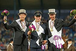 Individual podium, Brauchle Michael, Chardon Ijsbrand, De Ronde Koos<br /> Marathon Driving Competition<br /> FEI European Championships - Aachen 2015<br /> © Hippo Foto - Dirk Caremans<br /> 22/08/15