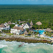 Aerial view of the Kore Tulum Retreat and Spa Resort. Tulum, Mexico.