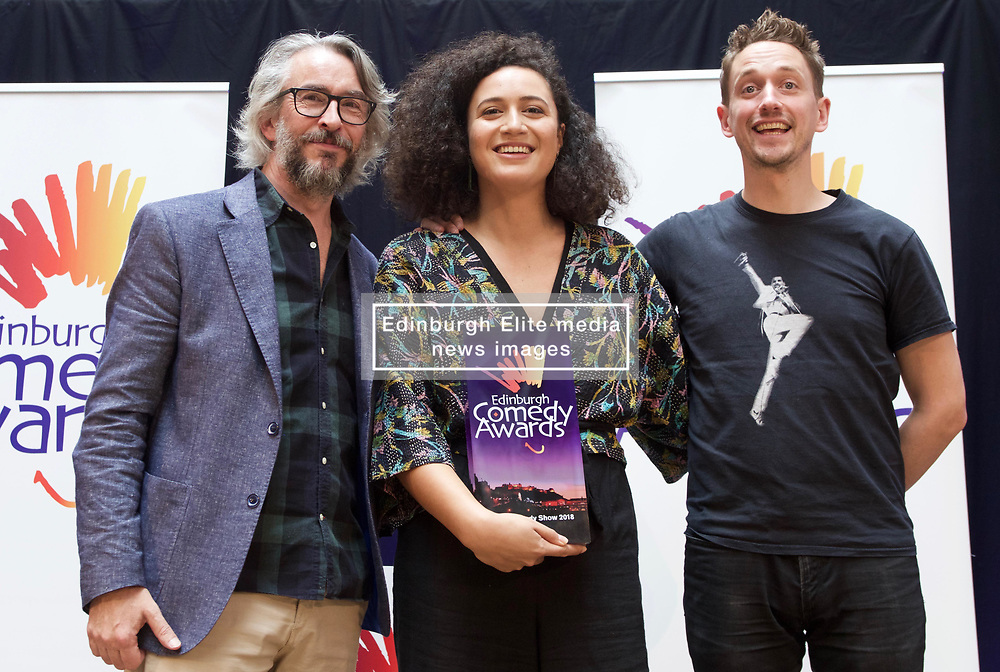 New Zealander Rose Matafeo who won the £10,000 prize for Best Comedy Show at the 2018 Edinburgh Comedy Awards pictured with Steve Coogan and last year's co-winner John Robins. Pic copyright Terry Murden @edinburghelitemedia